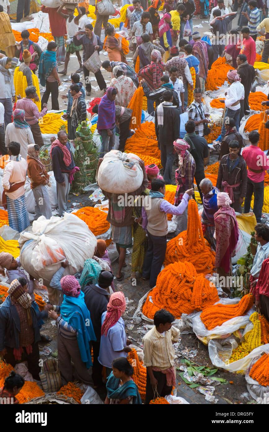 India, West Bengal, Kolkata, Flower Market next to Hooghly Bridge - Stock Image