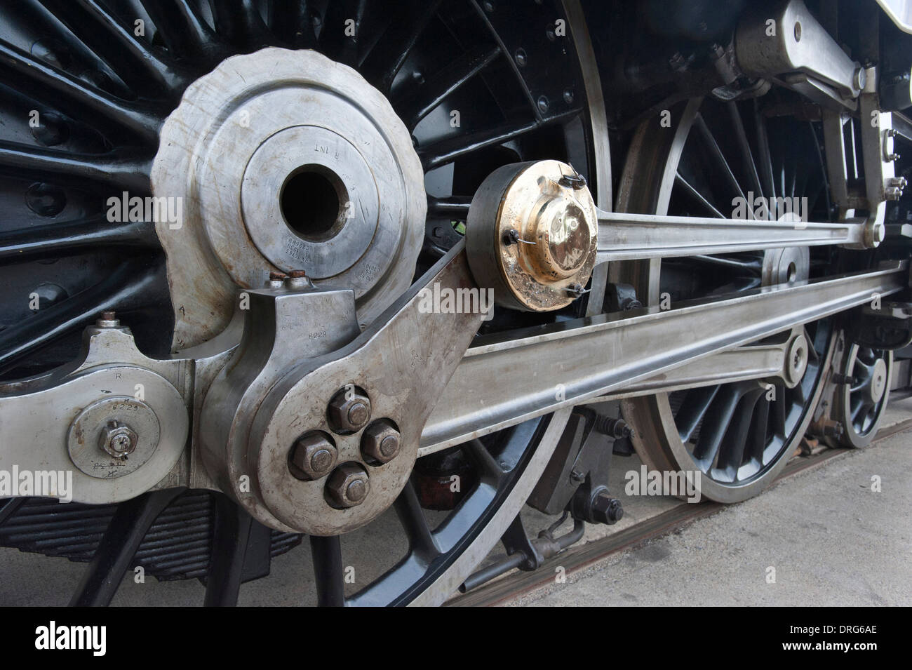 The Connecting Rods and the Driving Wheels of London, Midland Scottish Railways (LMS) streamlined 'Princess Coronation' preserved Steam Locomotive Number 6229 'Duchess of Hamilton' - Stock Image