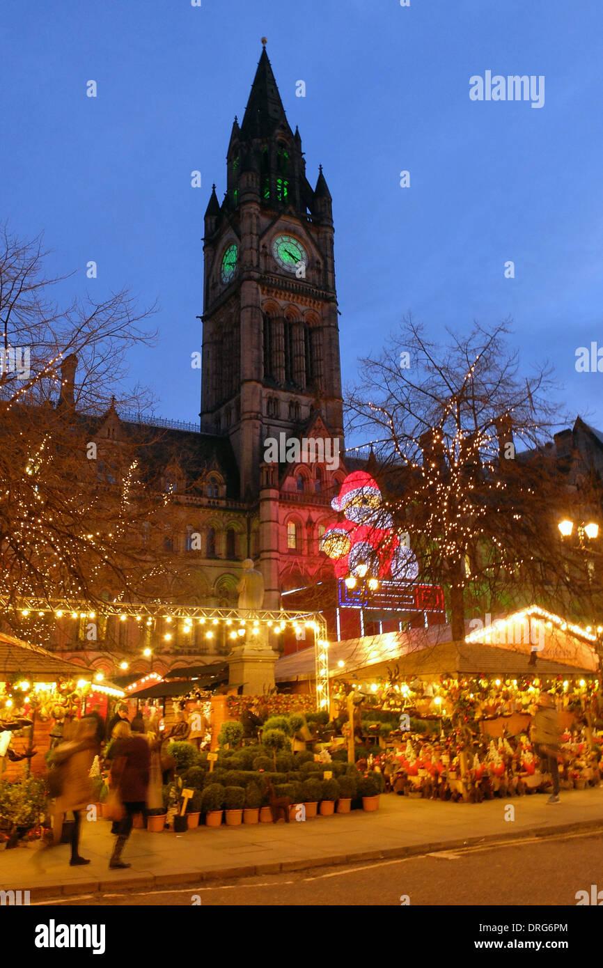 England, Manchester, Town Hall, Christmas Market Stock Photo