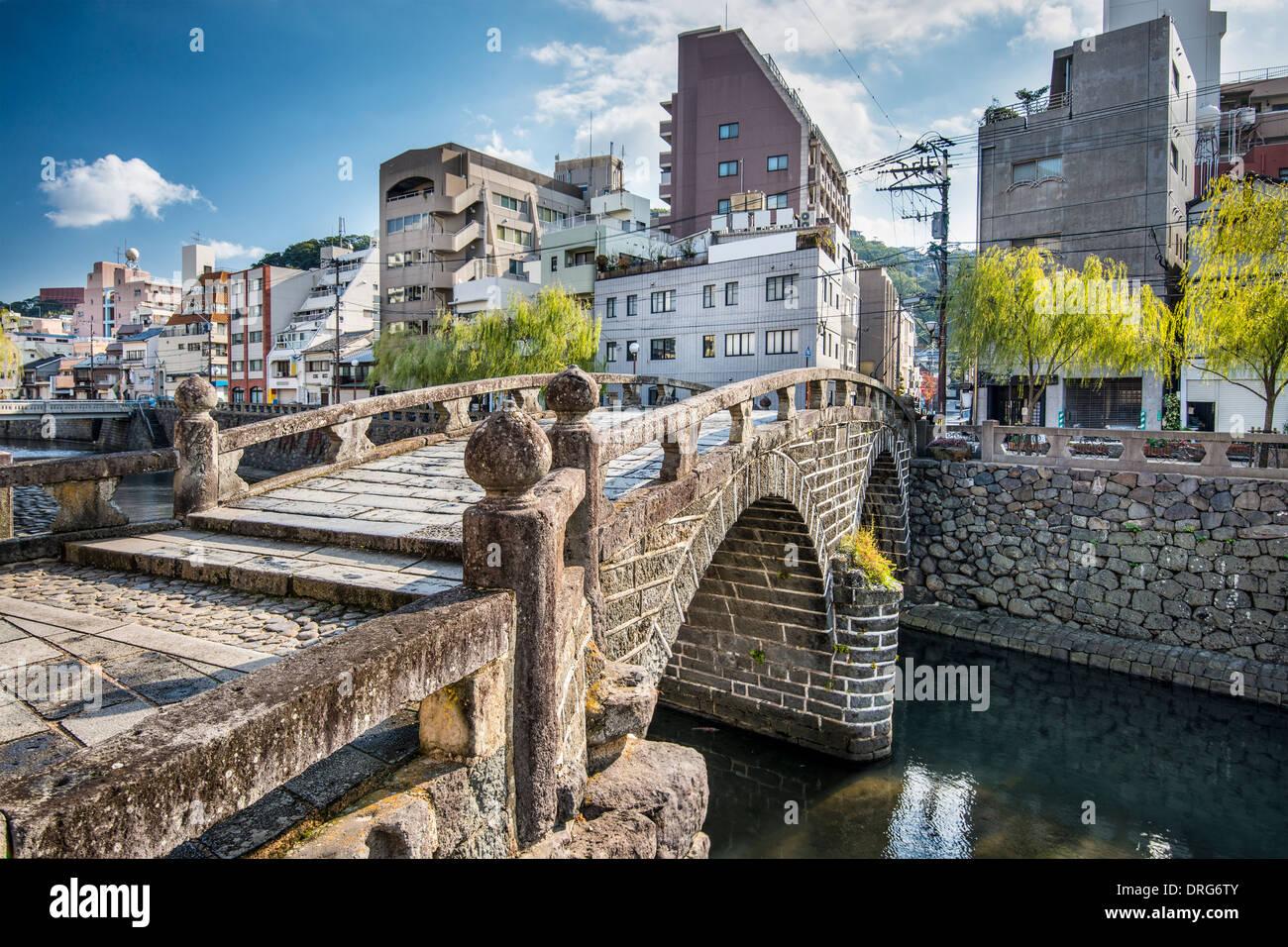 Nagasaki, Japan at historic Megane 'Spectacles Bridge' over the Nakashima River. - Stock Image