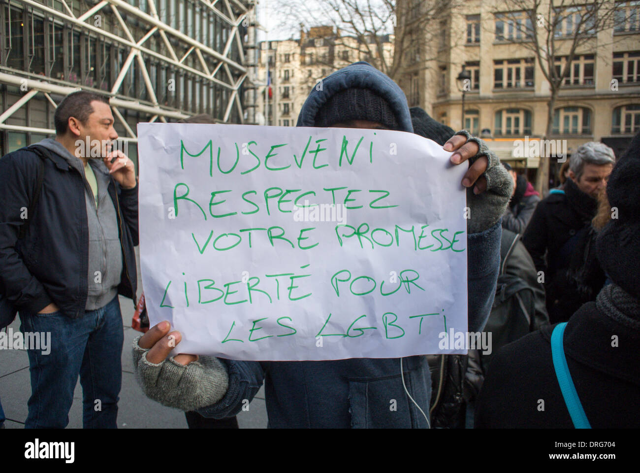 Paris, France. Public Demonstration, French LGBT Groups, Protesting Against the  recently passed Homophobic Law.  in Uganda, - Stock Image