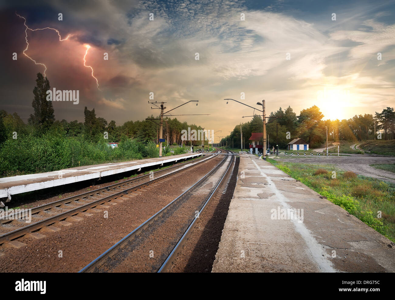 Bad weather and storm clouds over railroad - Stock Image