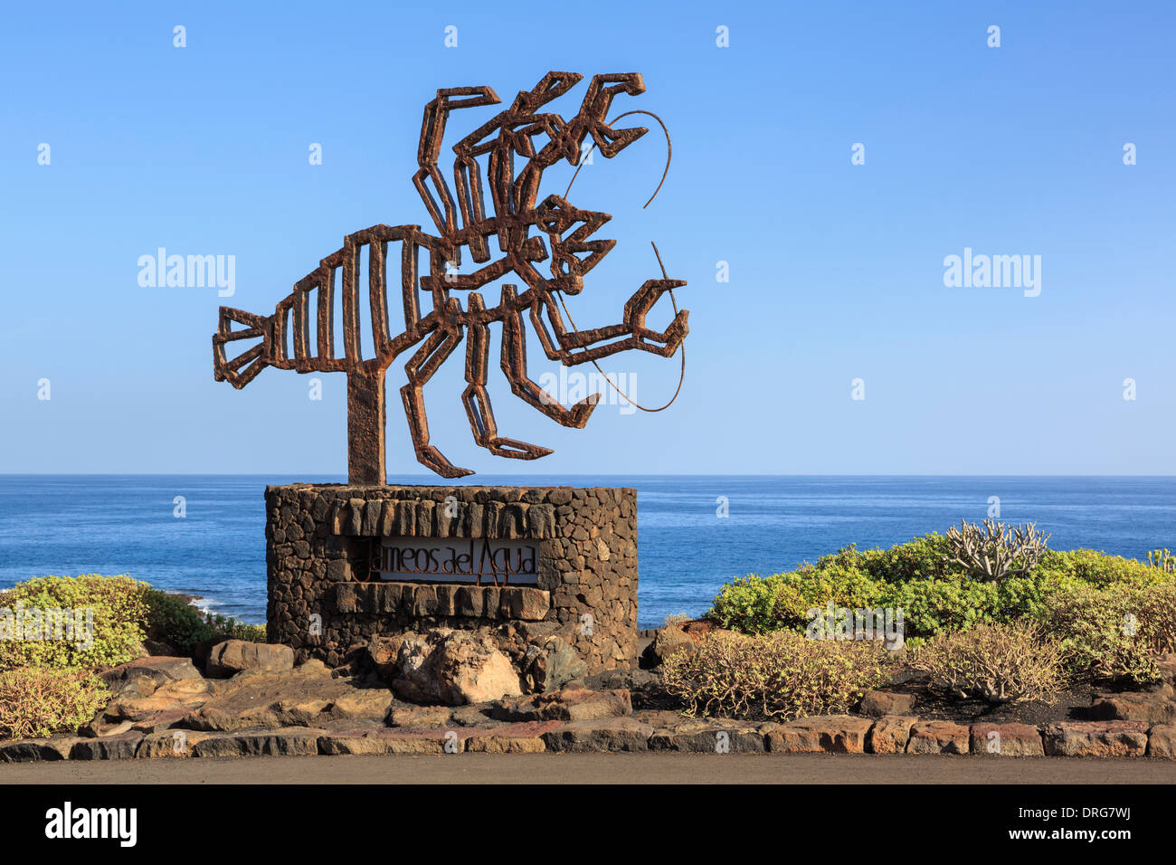 Lobster sculpture by Cesar Manrique at Jameos de Agua volcanic caves attraction near Arrieta, Lanzarote, Canary Islands, Spain - Stock Image