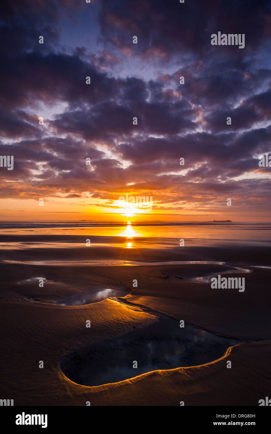 Dawn over the Farne Islands in Northumberland as seen from Bamburgh beach - Stock Image