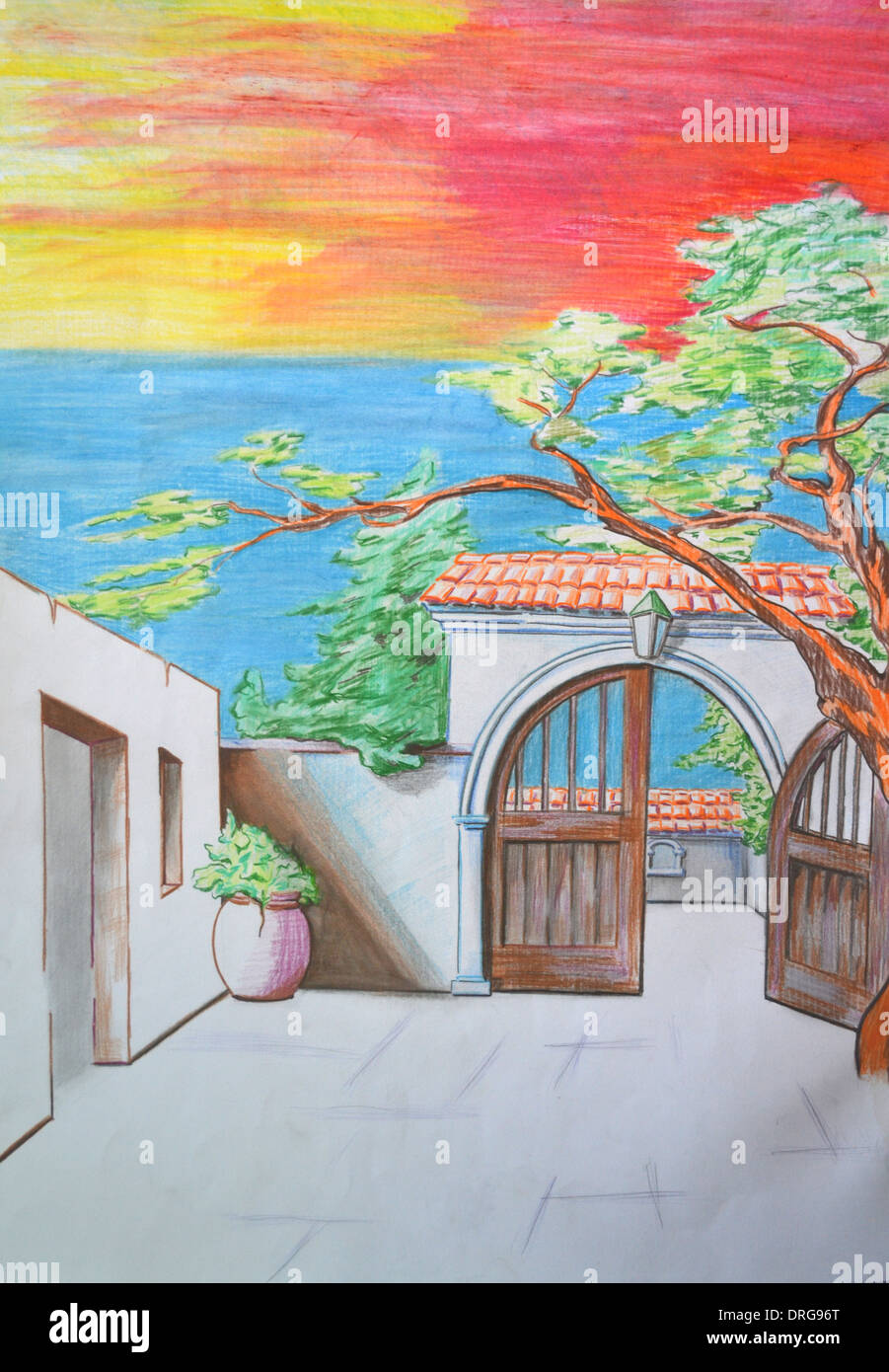 open door pencil drawing. Entrance To The Courtyard With Tree. Pencil Drawing - Stock Image Open Door E