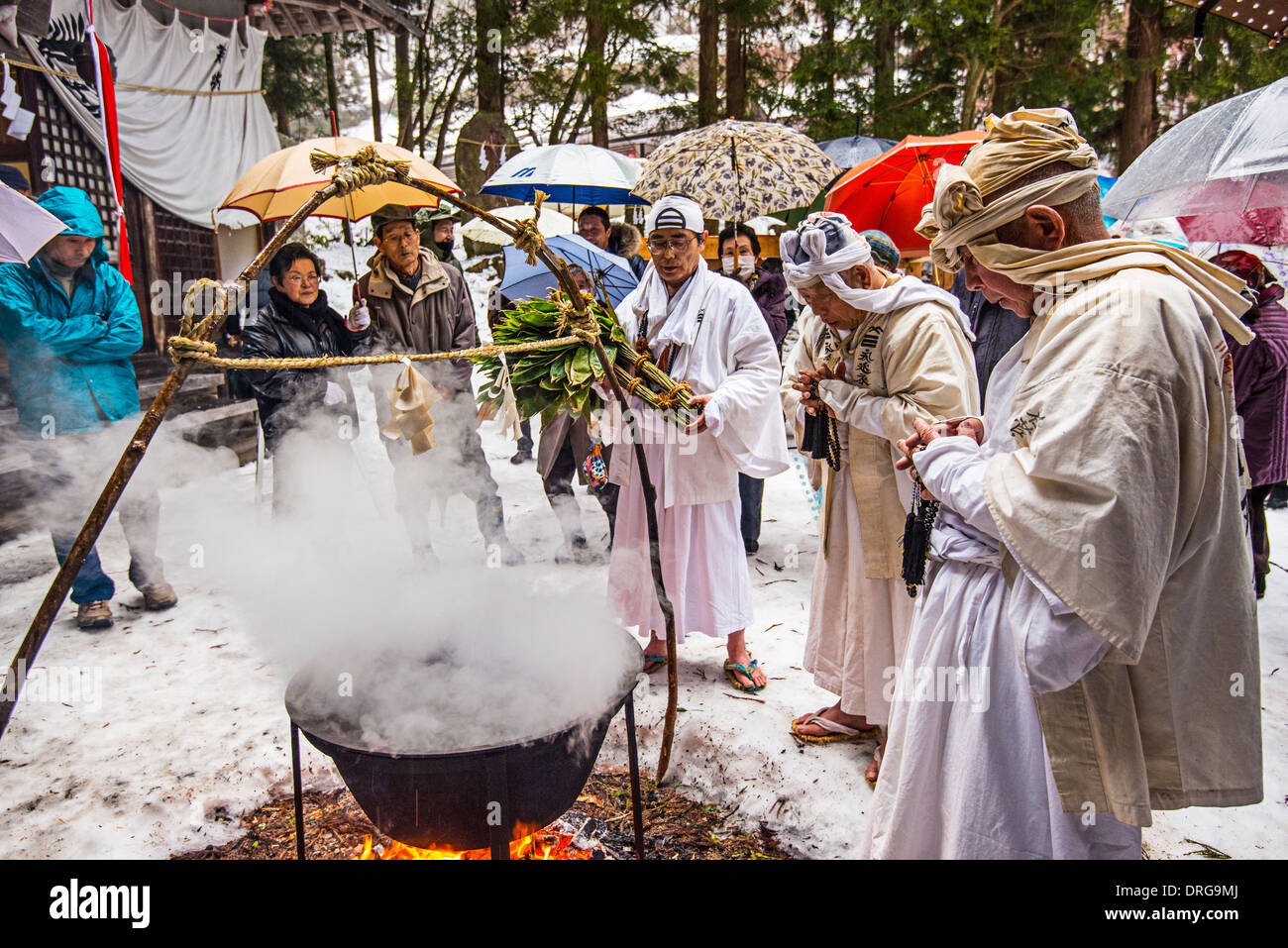 Shinto ascetics perform a ceremony in Nagano, Japan. - Stock Image