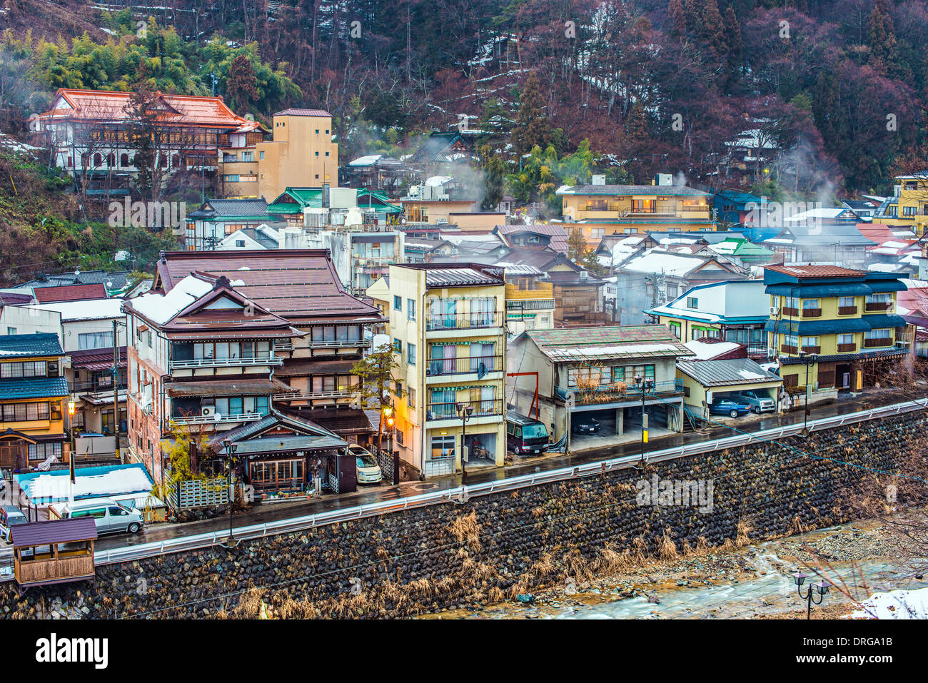 The small town of Shibu Onsen in Nagano Prefecture. The town is famed for the numerous historic bath houses located - Stock Image