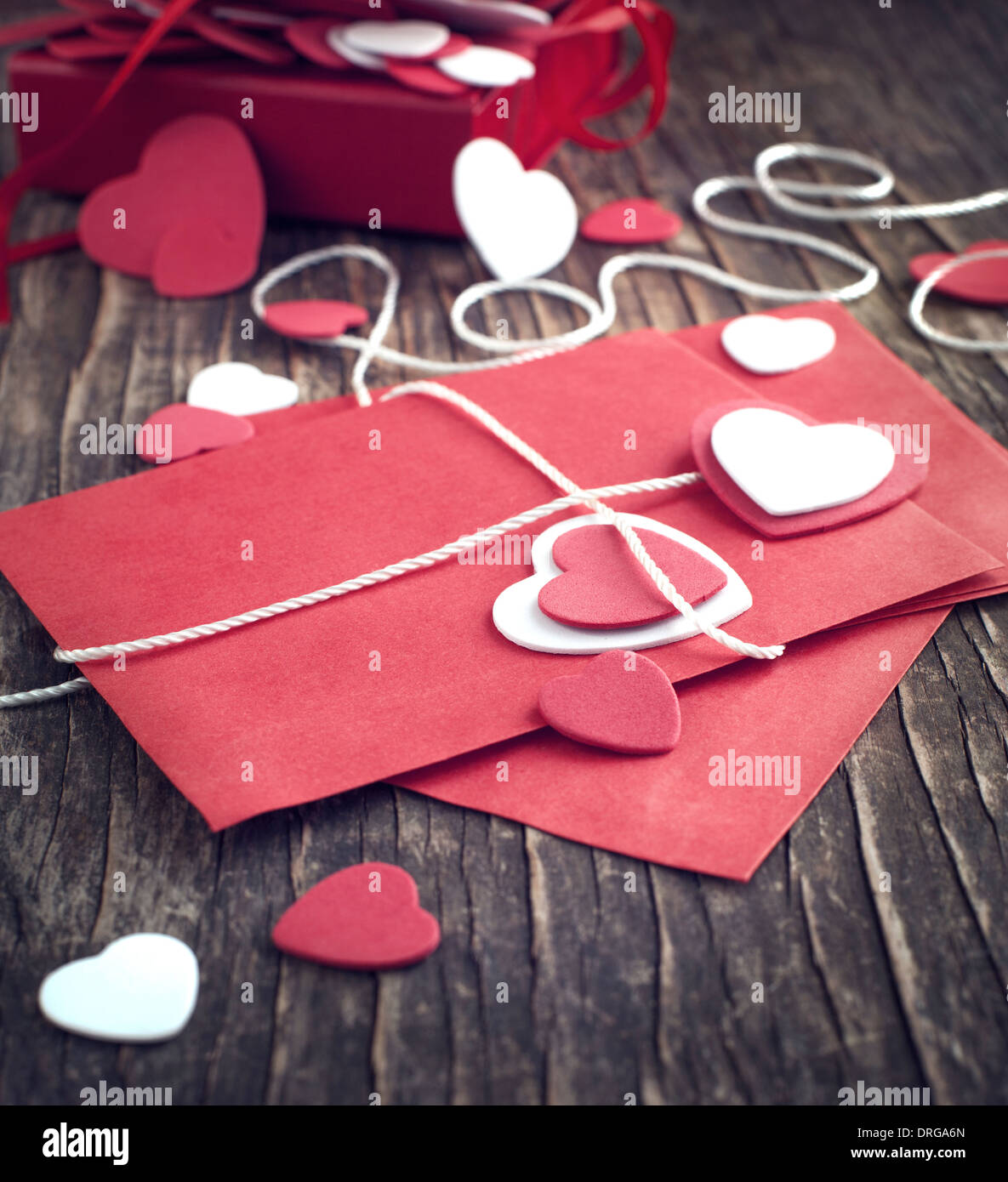 Love letter for Valentine's day. Toned image - Stock Image