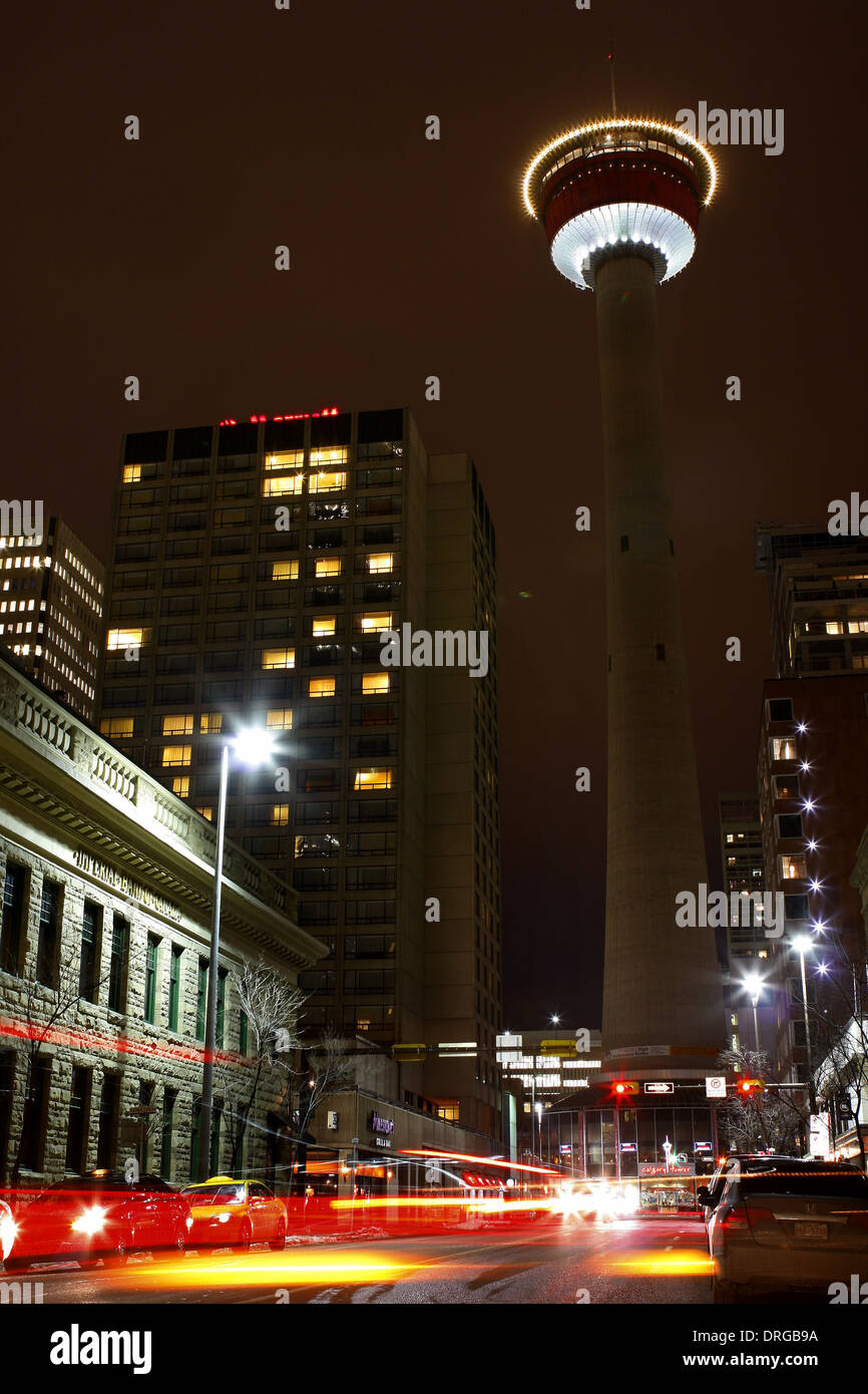 Down Town Calgary Alberta, facing the Calgary Tower. Busy street view, traffic moving down the street. - Stock Image