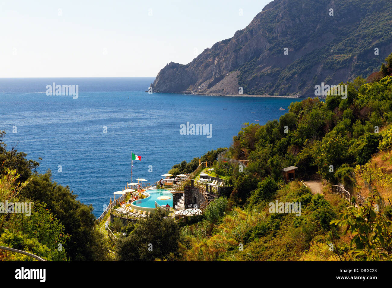 High Angle View of the Coast with a Pool, Monterosso Al Mare, Cinque Terre, Liguria, Italy - Stock Image