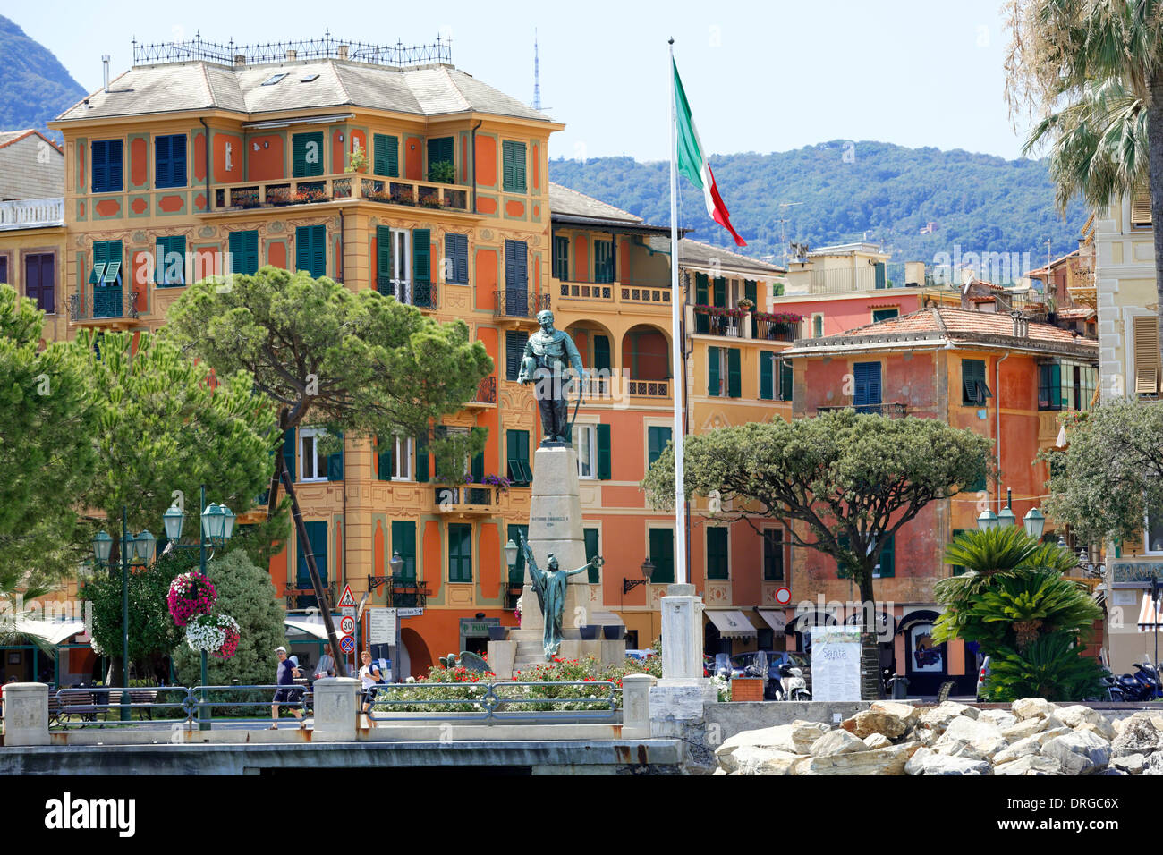Statue of Victor Emmanuel II, King of Italy, Santha Margherita, Liguria, Italy - Stock Image