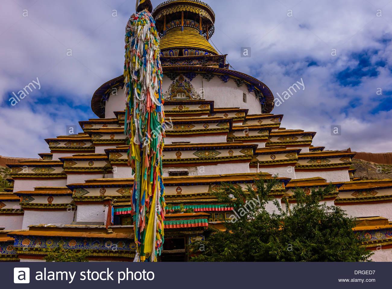 Kumbum Stupa (the largest stupa in Tibet), Palcho Monastery, Gyangze, Tibet (Xizang), China. - Stock Image