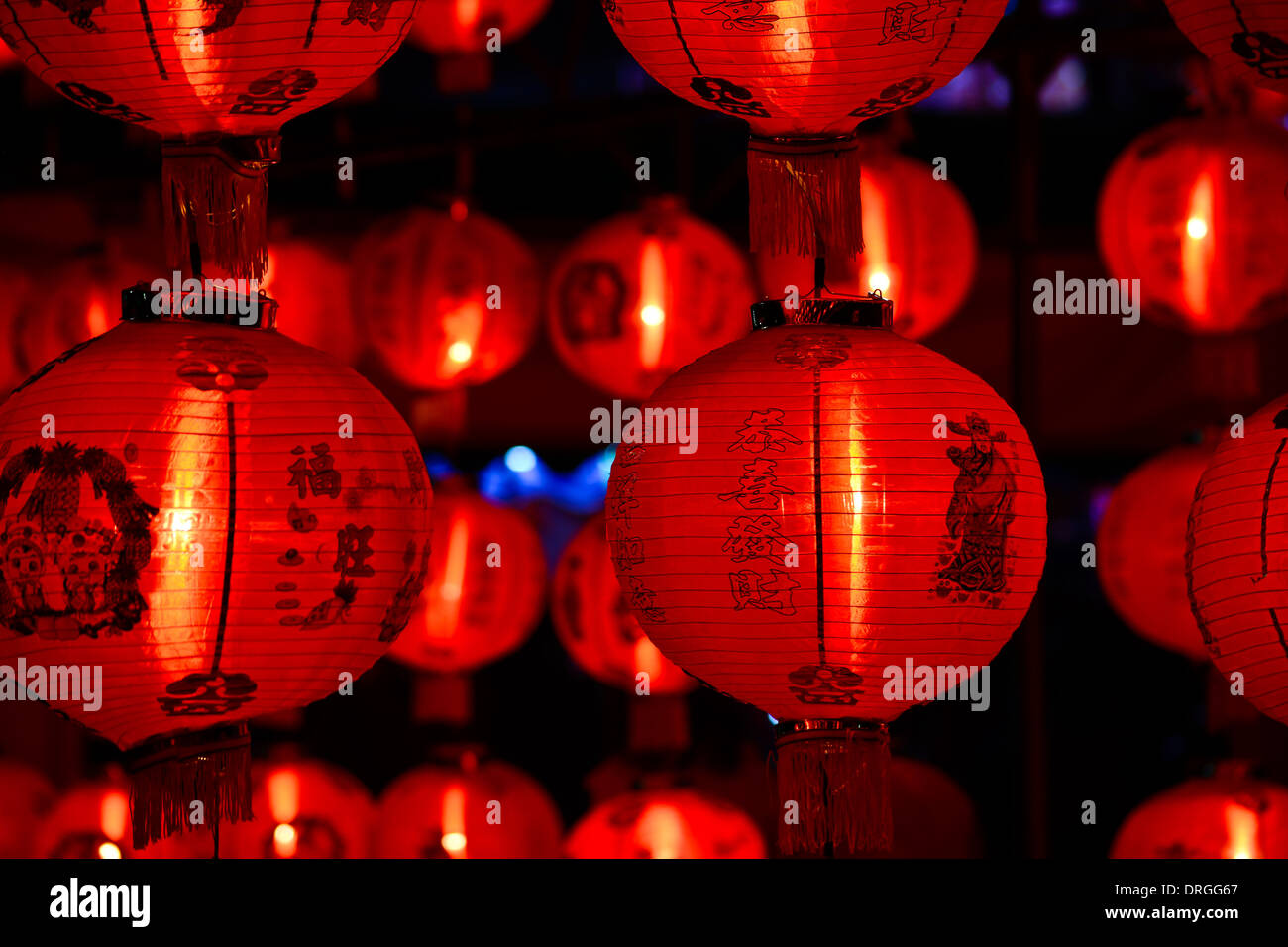 chinese lanterns for chinese new year in night - Stock Image