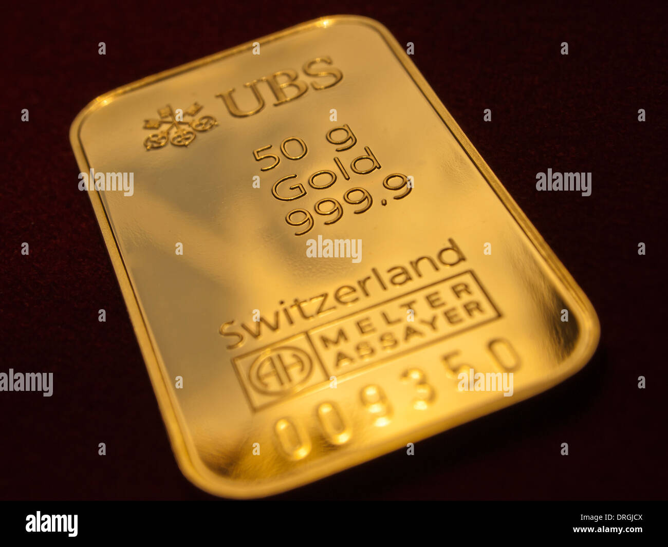 A 50g gold ingot issued by the Swiss bank UBS. - Stock Image