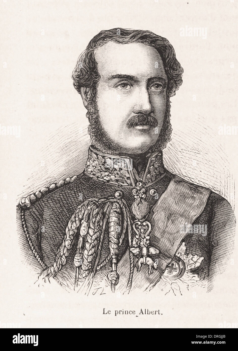 Portrait of Prince Albert - French engraving XIX th century - Stock Image