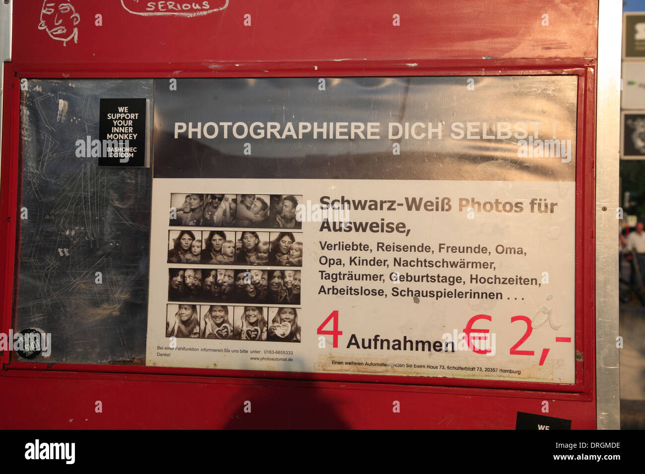 Historic old analog black and white Photo booth, Karoviertel, Hamburg, Germany, Europe - Stock Image