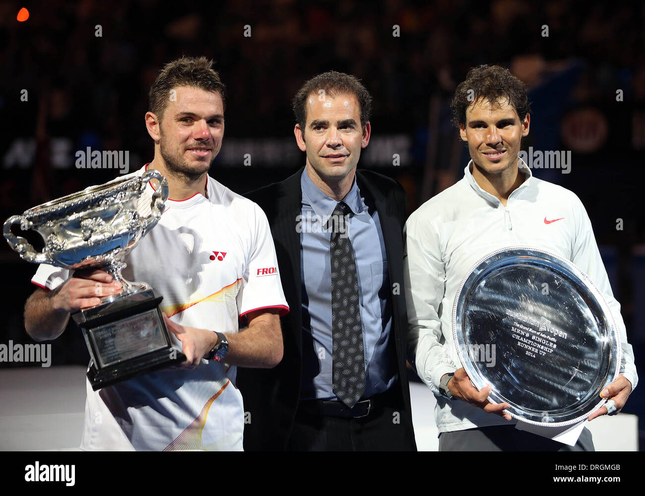Melbourne, Australia. 26th Jan, 2014. Stanislas Wawrinka (L) of Switzerland and Rafael Nadal (R) of Spain pose with former US tennis player and 14-time grand slam champion Pete Sampras during the awarding ceremony after their men's singles final match at 2014 Australian Open tennis tournament in Melbourne, Australia, Jan. 26, 2014. Stanislas Wawrinka won 3-1 to be the champion. Credit:  Xu Yanyan/Xinhua/Alamy Live News - Stock Image