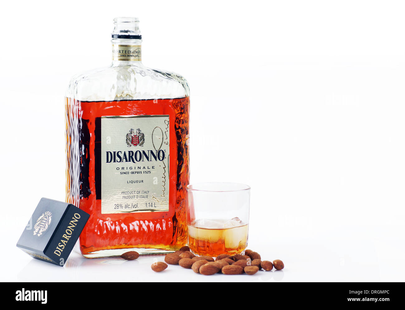 CANADA, QUEBEC, JANUARY, 6, 2014: Disaronno Amaretto liquor is an imported almond flavored alcohol from Italy. - Stock Image