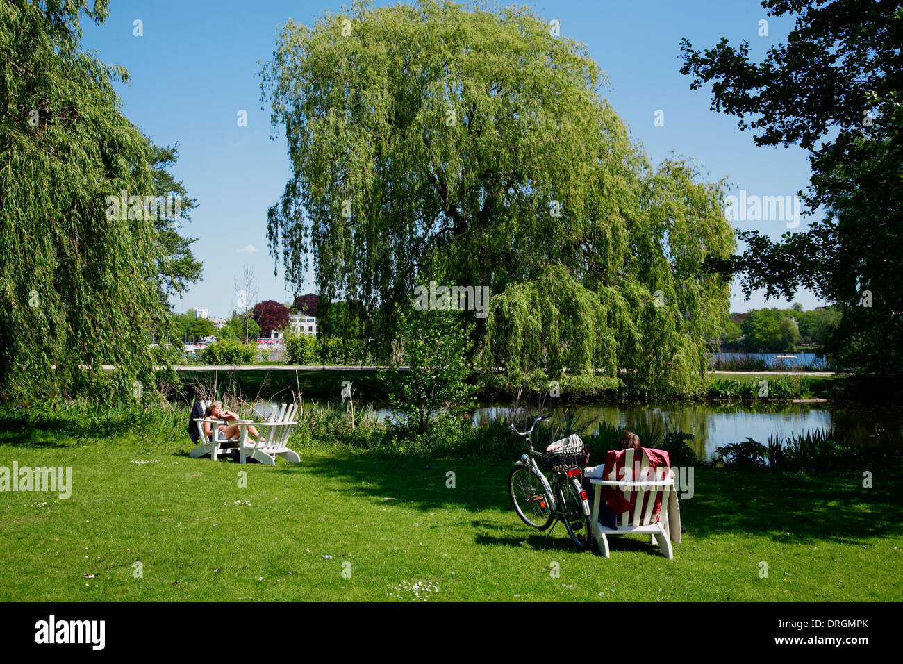 Sunbath in a park at  Lake Outer Alster (Aussenalster), Hamburg, Germany, Europe - Stock Image