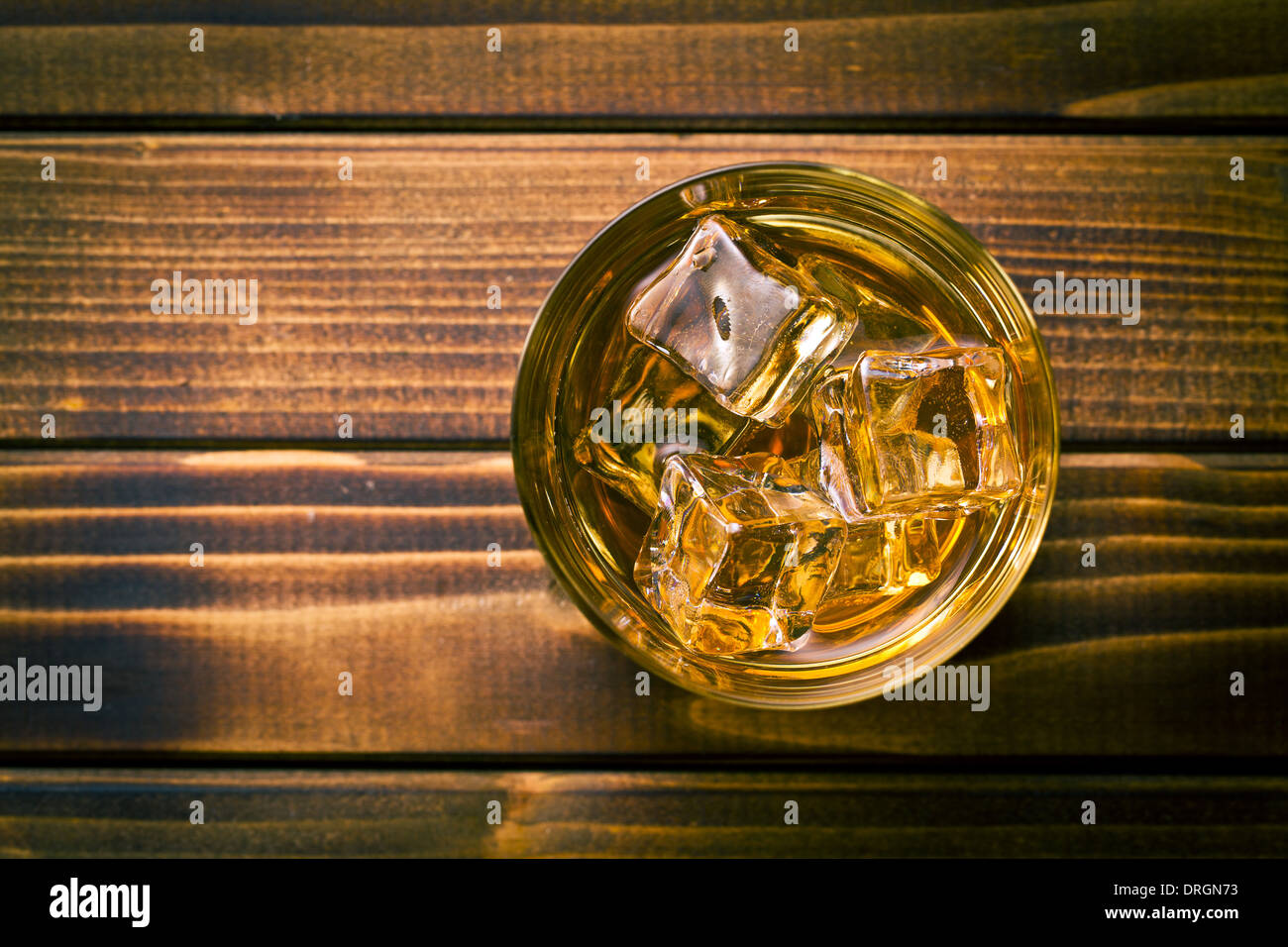 top view of whiskey in glass with ice Stock Photo