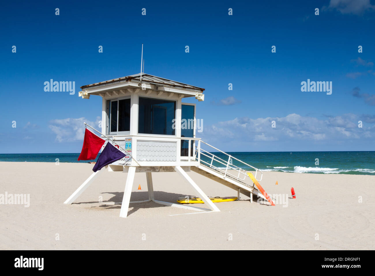 Lifeguard Stand Booth, Fort Lauderdale, Florida, USA Stock Photo