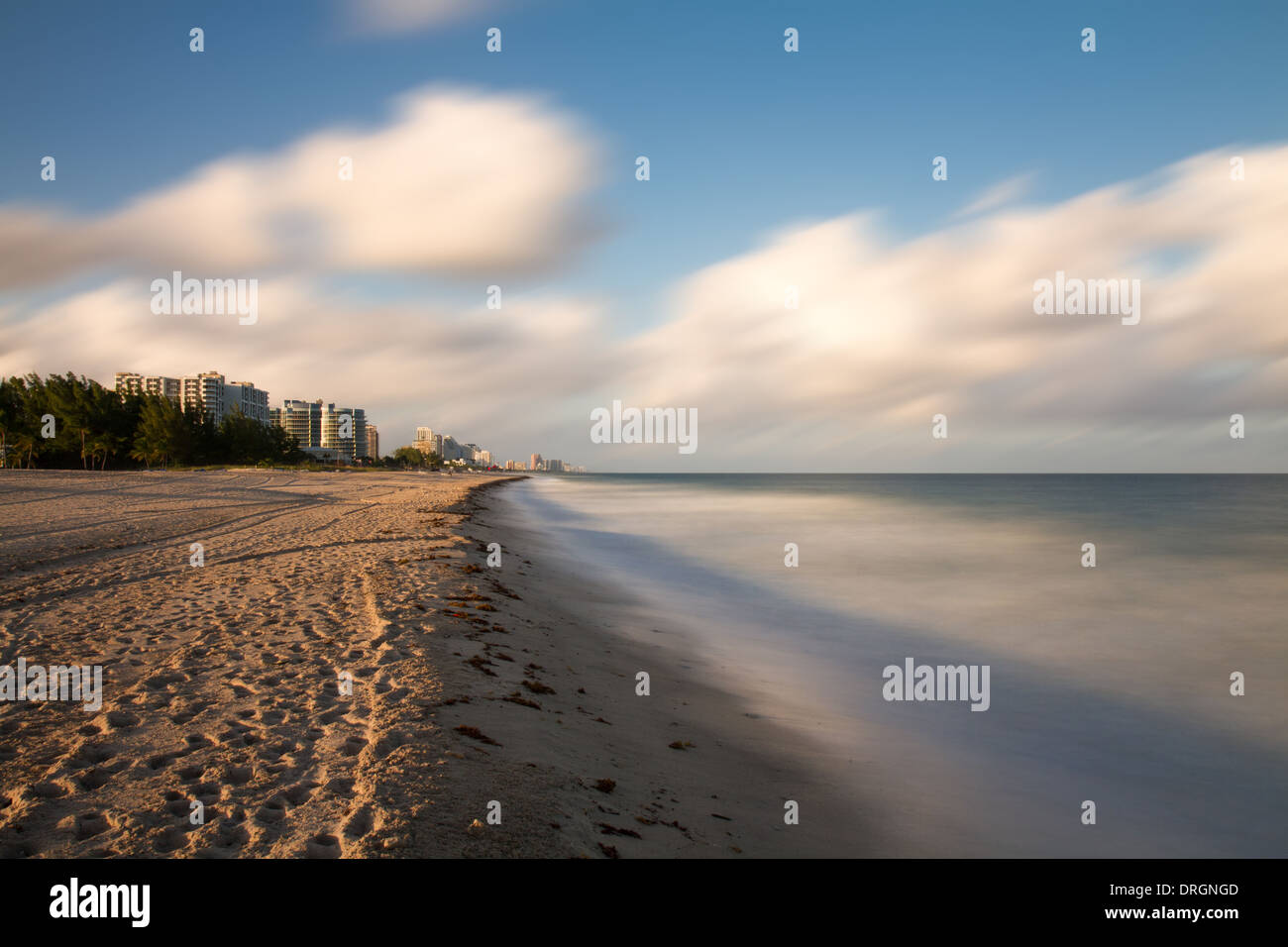 Empty beach at Fort Lauderdale - Long Exposure version, Florida Stock Photo