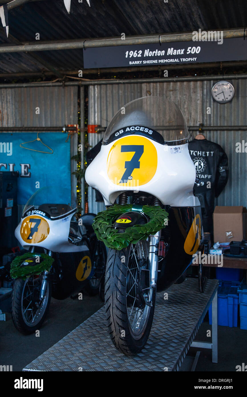 1962 Norton Manx 500 motorbike at the Goodwood Revival 2013, West Sussex, UK - Stock Image