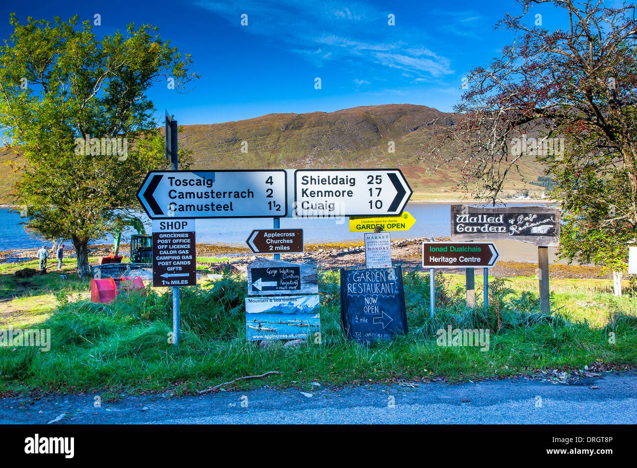 Road signs at Applecross village, Wester Ross, West coast, Highlands, Scotland UK - Stock Image