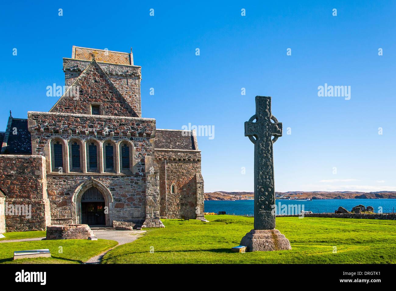Iona Abbey, Iona, Argyll & Bute, Highlands Scotland UK - Stock Image