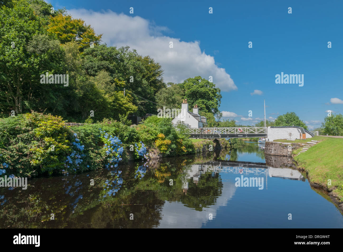 Redflections on Crinan Canal nr CrinanArgyll & Bute Scotland - Stock Image
