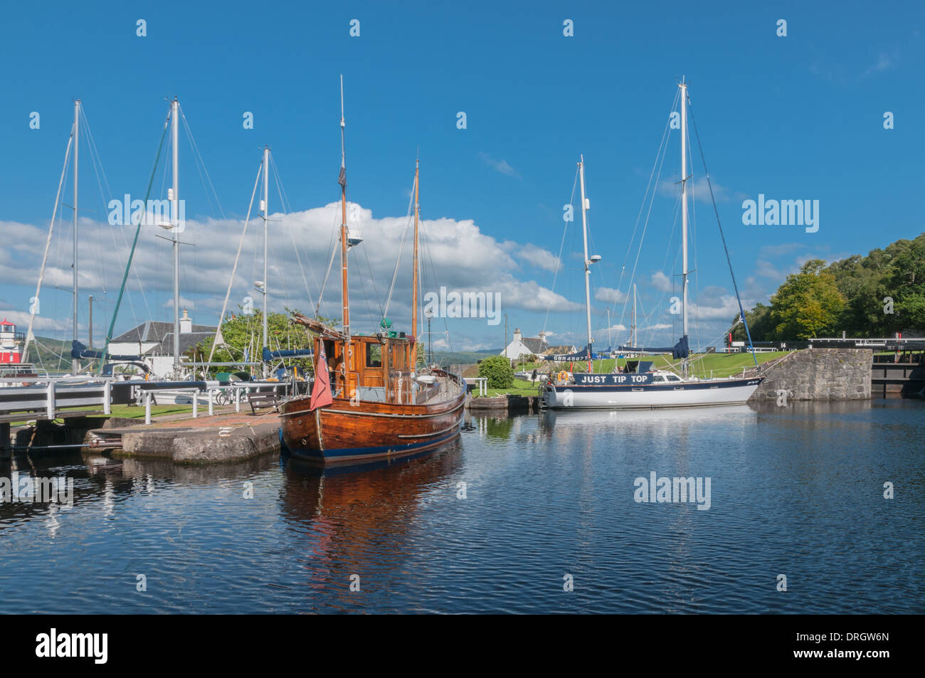 Boats and yachts in Crinan Canal Crinan Argyll & Bute Scotland - Stock Image
