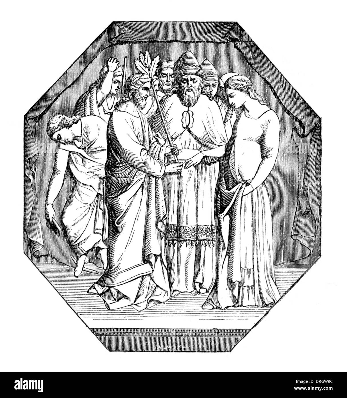 Marriage of the Virgin Black and White Illustration - Stock Image
