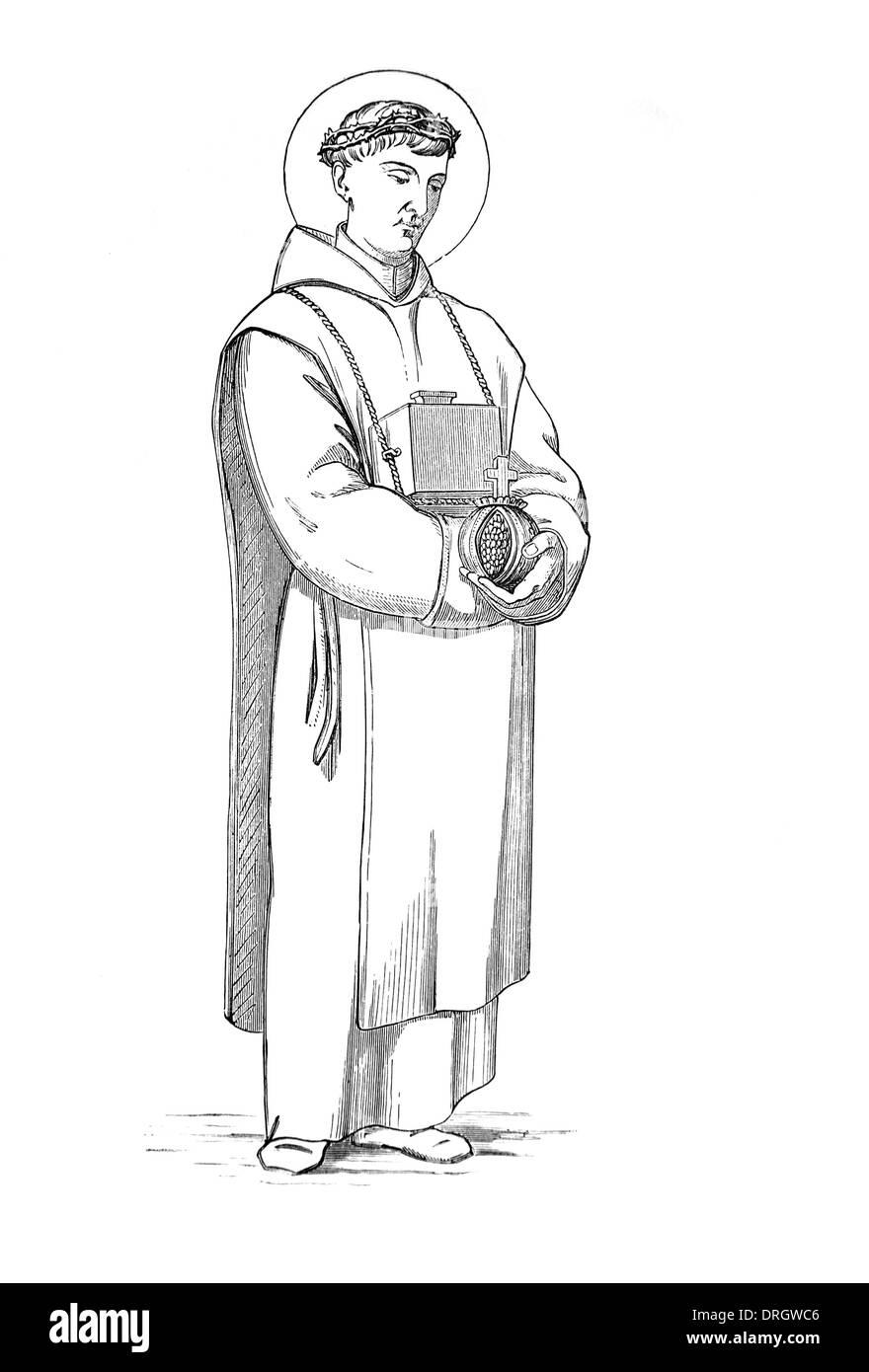 Saint John of God; Black and White Illustration - Stock Image