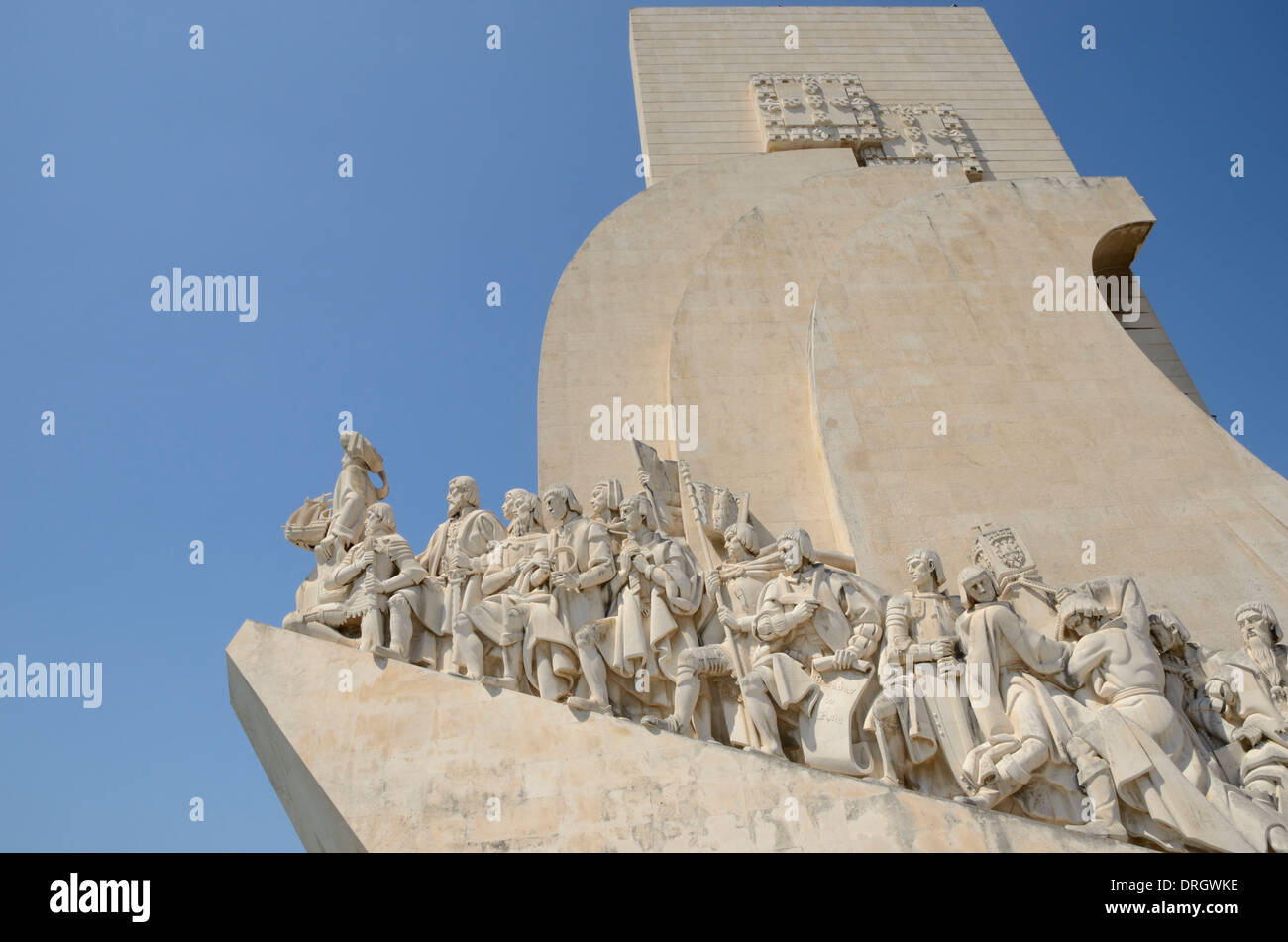 Monument to the Discoveries is a monument on the northern bank of the Tagus River estuary, in the civil parish of Belem, Lisbon. - Stock Image