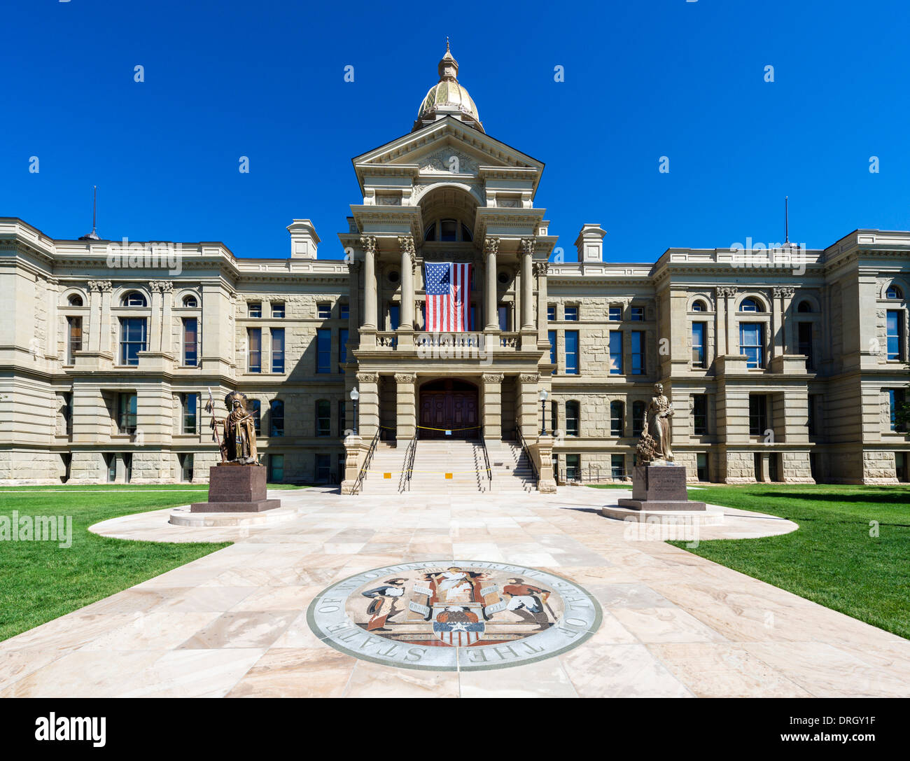 Wyoming State Capitol with the state great seal in the