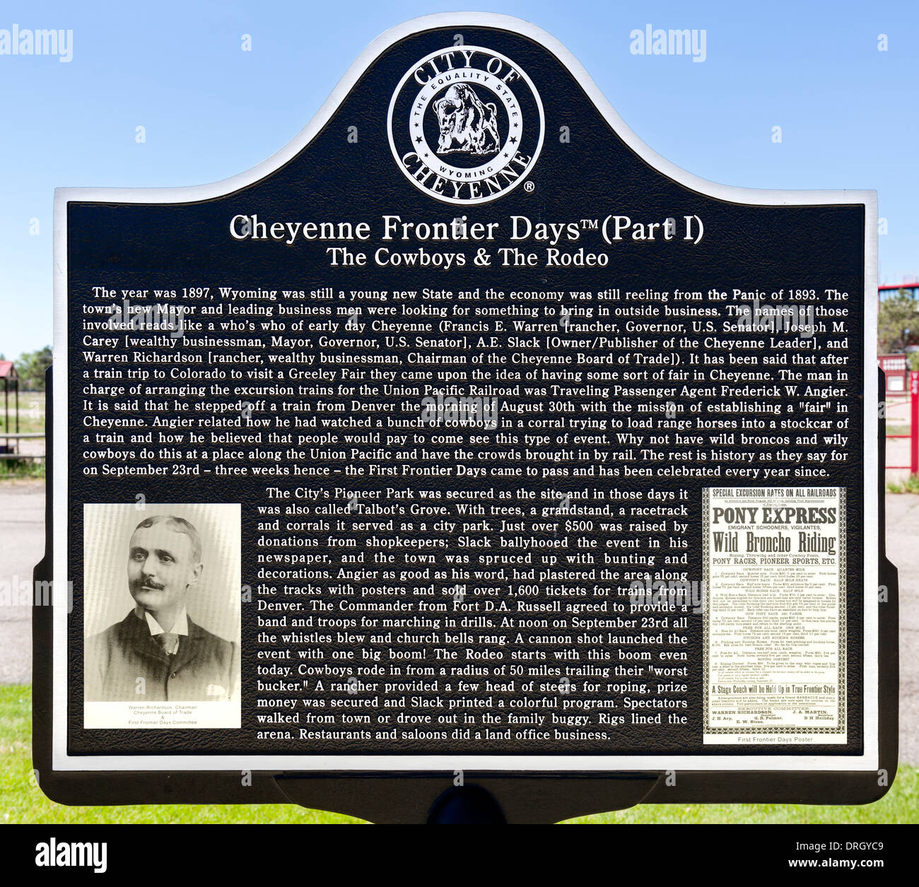 Plaque describing the history of Cheyenne Frontier Days, Cheyenne, Wyoming, USA - Stock Image