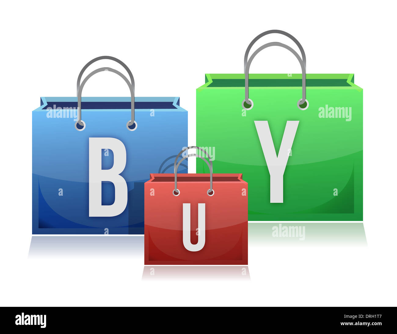 Three colorful shopping bags with the text buy. White background. - Stock Image