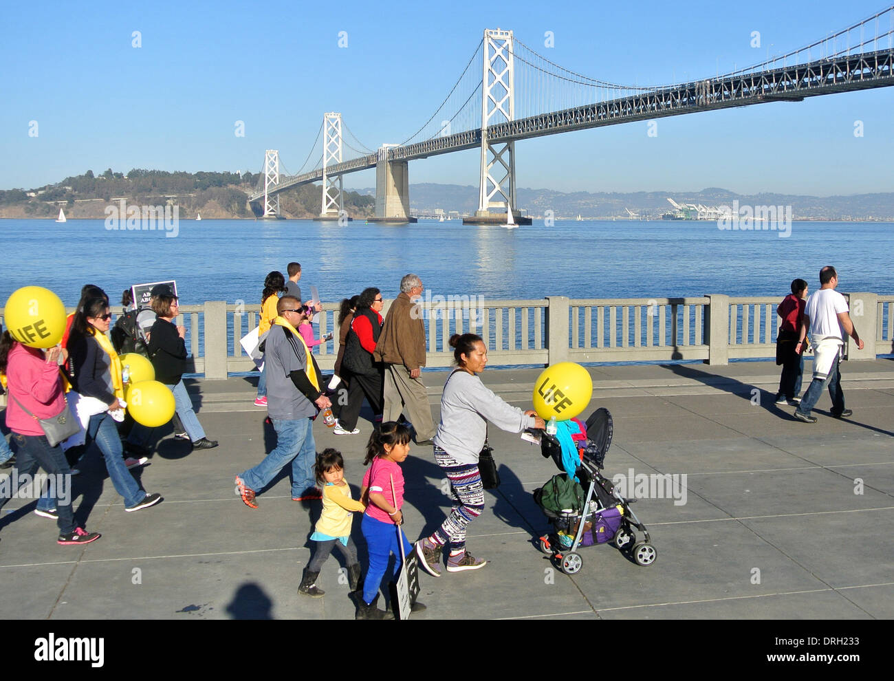 San Francisco, USA. 25th Jan, 2014.  An estimated 20,000 or more pro life anti abortion activists march in the 10 annual west Coast Walk for lIfe in San Francisco Credit:  Bob Kreisel/Alamy Live News - Stock Image