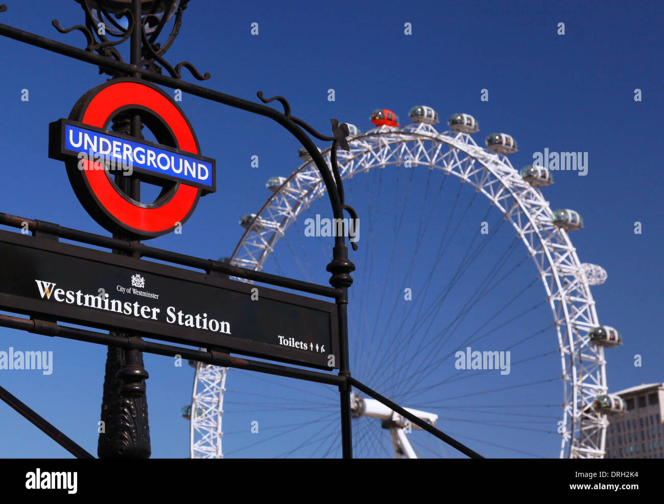 London Underground and the London Eye - Stock Image
