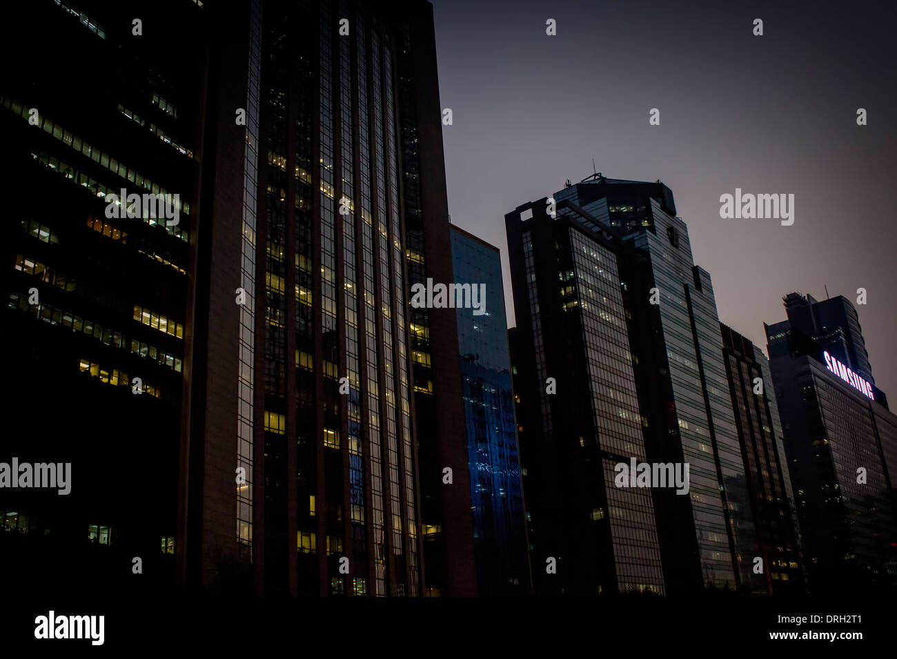 hongkong urban evening dark perspective - Stock Image