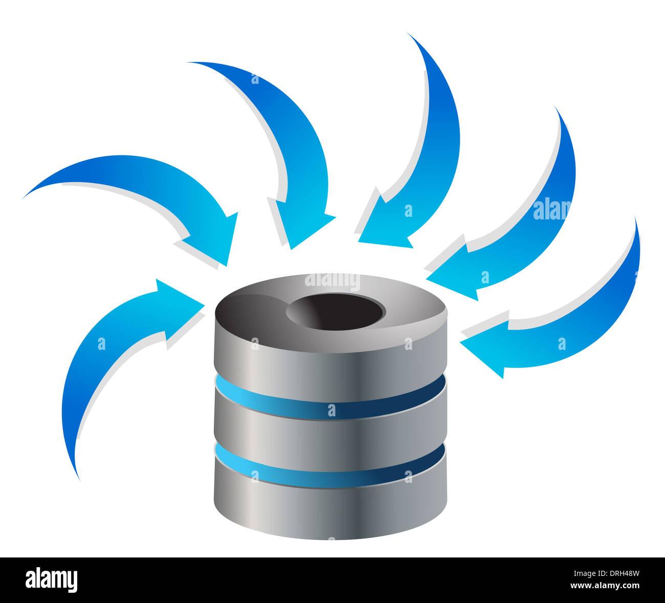 cloud computing server icon illustration design over white stock