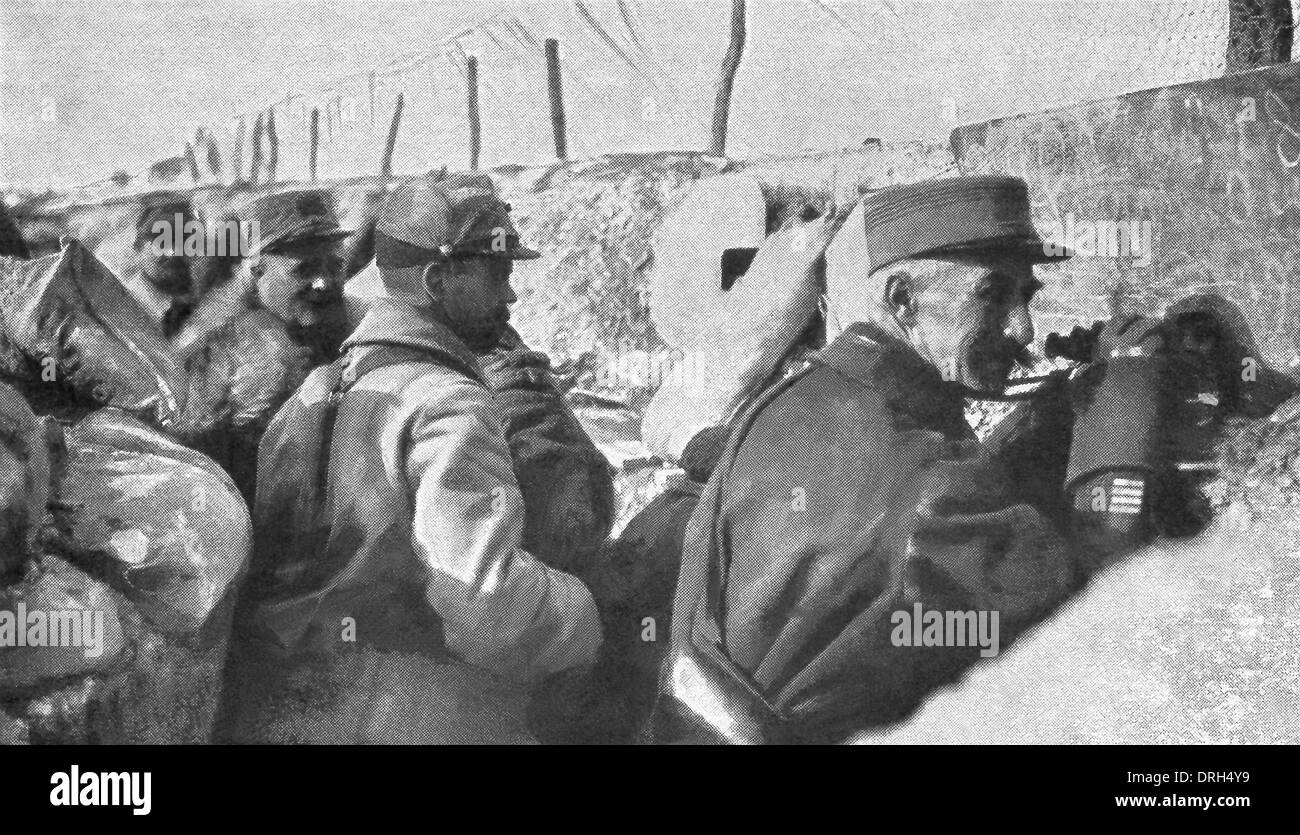 Allied soldiers in the trenches watch for enemy German soldiers during World War I. - Stock Image