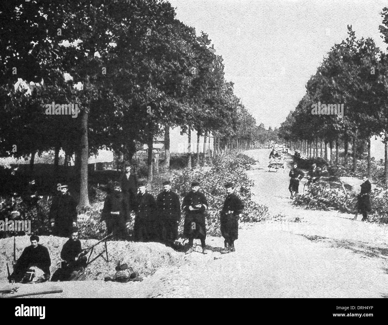 This photo shows Belgian trenches near the city of Ghent and how the Allied military blocked the road against the Germans. - Stock Image