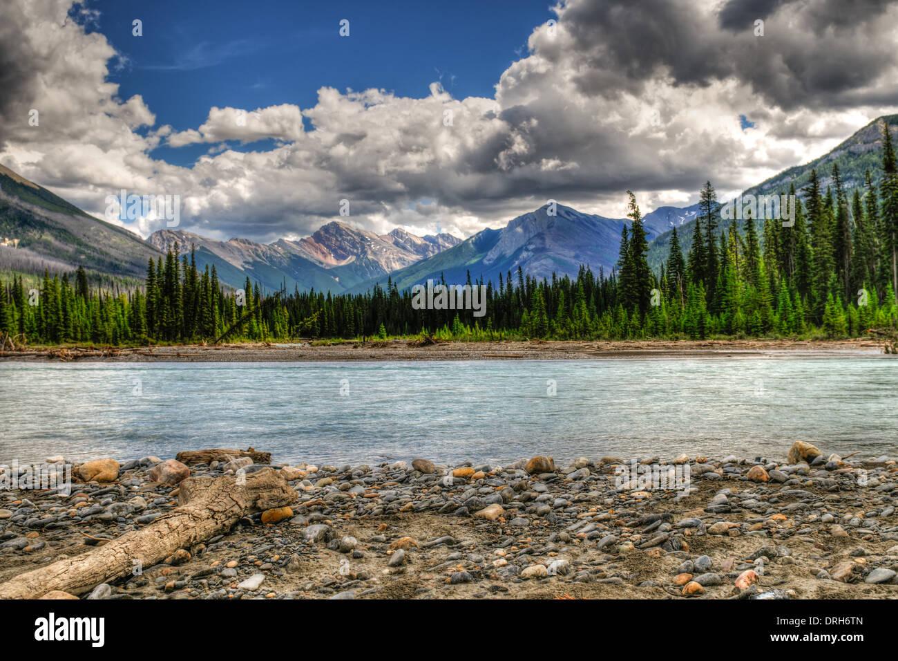 Scenic Mountain views of the Kootenay River, Kootenay National Park, BC Canada - Stock Image
