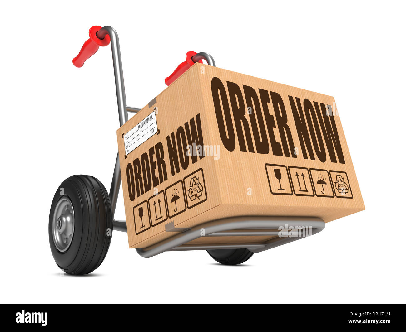 Order Now - Cardboard Box on Hand Truck. Stock Photo