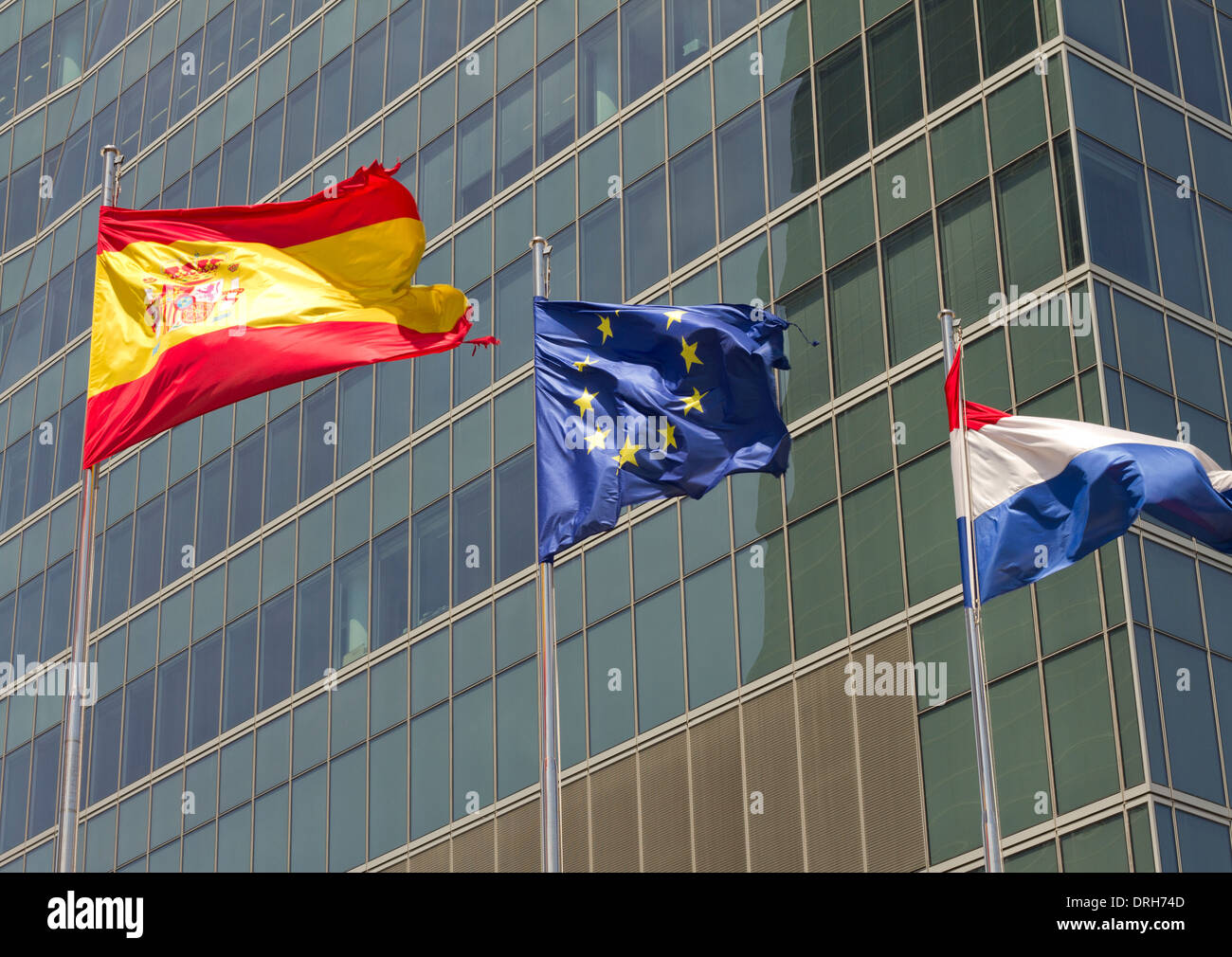 European, spanish and french flag - Stock Image