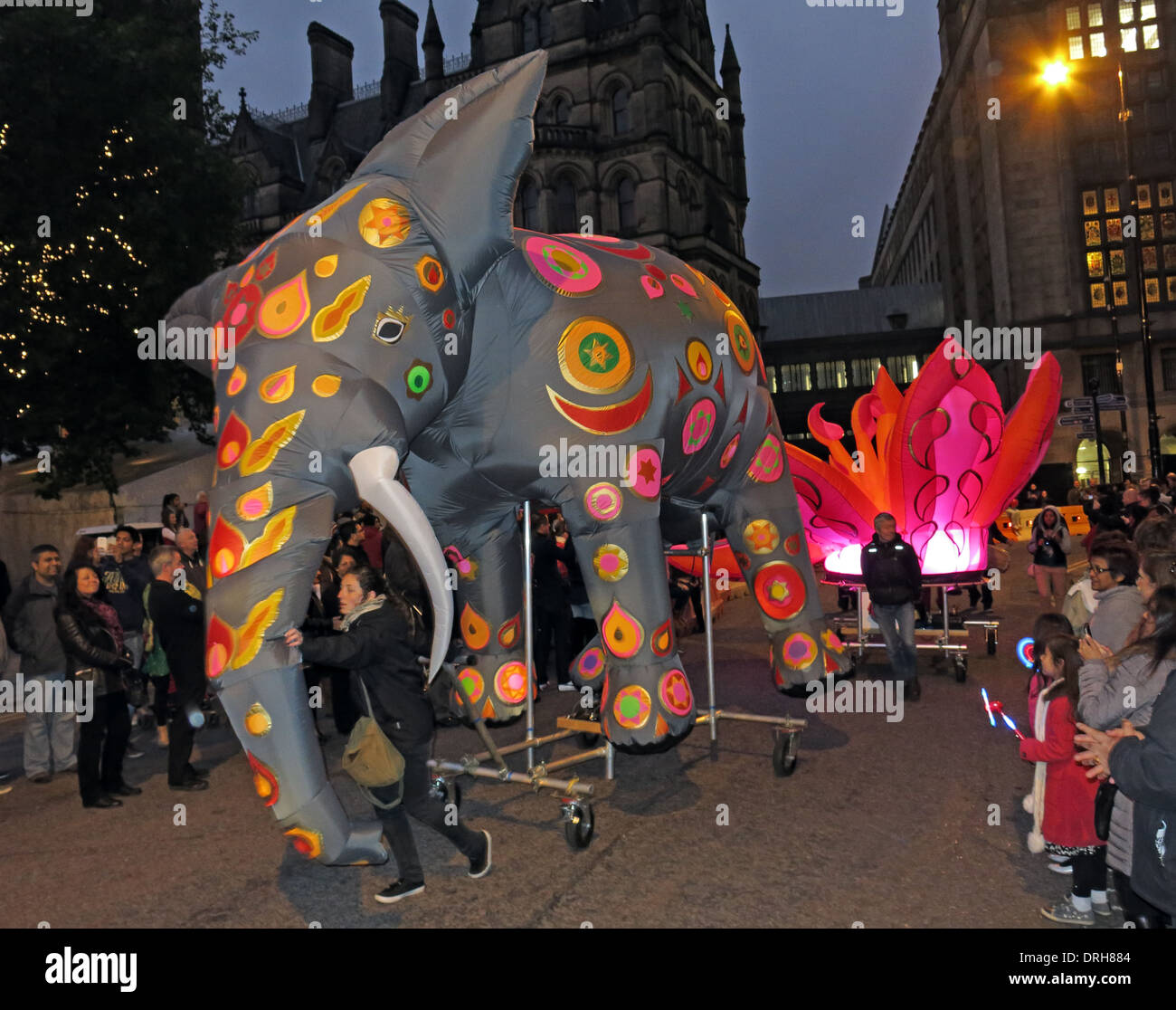 Elephant in the Dashehra Diwali Mela night parade, Manchester City Centre, NW England, UK 12/10/2013 Stock Photo