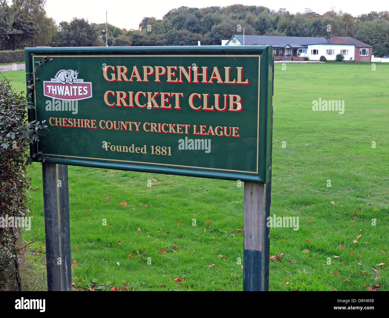 Sign outside Grappenhall Cricket Club, founded 1881, Cheshire, england, UK - Stock Image