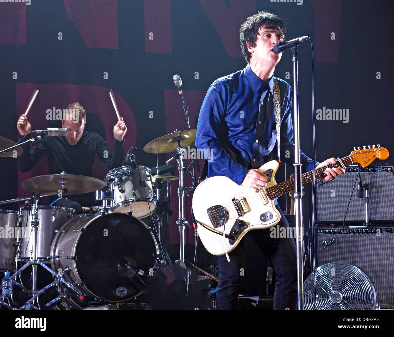 Johnny Marr of Smiths Manchester Academy live on stage playing fender guitar England UK 2013 12-10-2013 - Stock Image