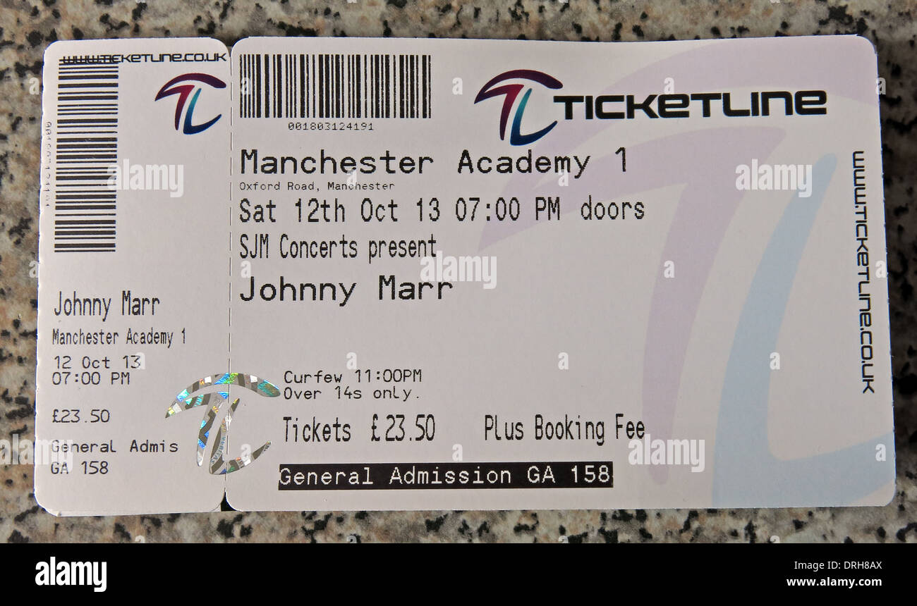 Johnny Marr Concert Ticket Manchester 2013 - Stock Image